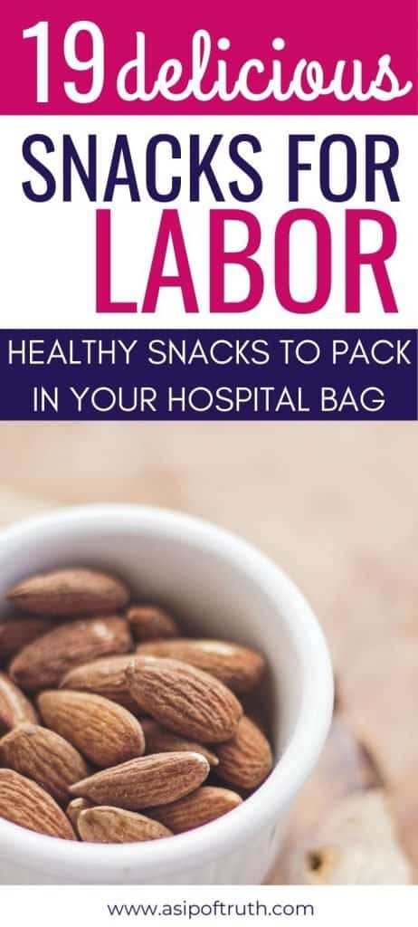 Wondering what the best snacks for labor and delivery are? Here are 19 snacks to pack in your hospital bag for labor. You won't want to forget these snacks for the hospital bag! #pregnancysnacks #hospitalbag #snacksforlabor #breastfeedingsnacks