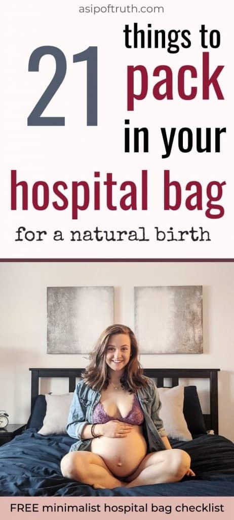 Still packing your hospital bag? Check out my must-haves for a natural birth. (and grab the free printable Minimalist Hospital Bag Checklist!) #hospitalbagchecklist #hospitalbag