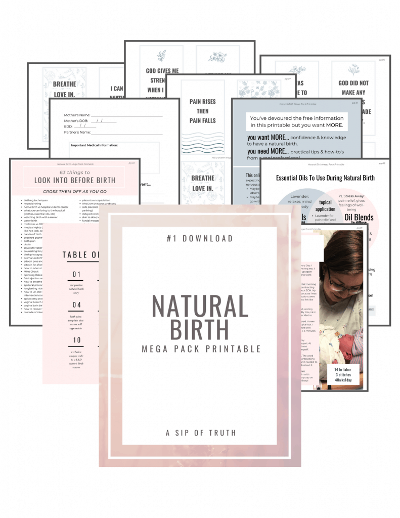 This natural birth printable will give you what you need to start preparing for a natural birth. Includes our birth story, natural birth plan template, 63 things to know before birth, a guide to essential oils for labor, birth affirmation cards and more...